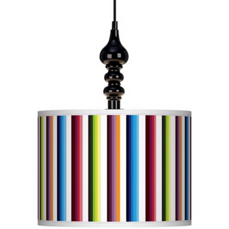 "Technocolors 13 1/2"" Wide Black Swag Chandelier"
