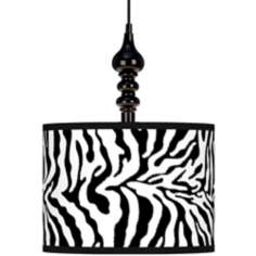 "Safari Zebra Giclee 13 1/2"" Wide Black Swag Chandelier"