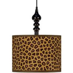 "Safari Cheetah Giclee 13 1/2"" Wide Black Swag Chandelier"
