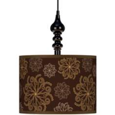 "Chocolate Blossom 13 1/2"" Wide Black Plug-In Swag Pendant"