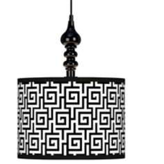 "Greek Key Giclee 13 1/2"" Wide Black Swag Chandelier"