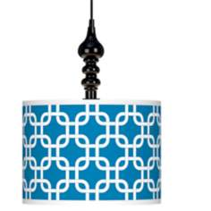 "Blue Lattice Giclee 13 1/2"" Wide Black Swag Chandelier"