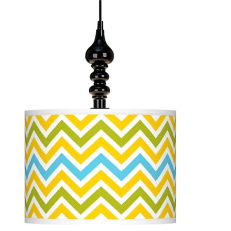 "Citrus Zig Zag Giclee 13 1/2"" Wide Black Swag Chandelier"