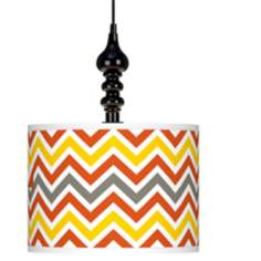 "Flame Zig Zag Giclee 13 1/2"" Wide Black Swag Chandelier"