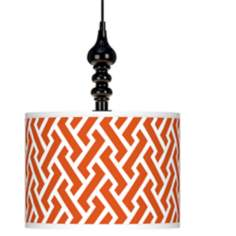 "Red Brick Weave Giclee 13 1/2"" Wide Black Swag Pendant"