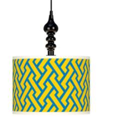 "Yellow Brick Weave Giclee 13 1/2"" Wide Black Swag Pendant"