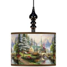 Thomas Kinkade Dogwood Chapel Black Swag Chandelier
