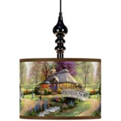 Thomas Kinkade Friendship Cottage Black Swag Chandelier
