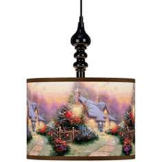 Thomas Kinkade Glory of Evening Black Swag Chandelier