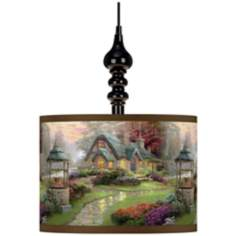 Thomas Kinkade Make a Wish Cottage Black Swag Chandelier