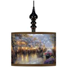Thomas Kinkade Mountain Memories Black Swag Chandelier