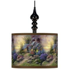 Thomas Kinkade Seaside Hideaway Black Swag Chandelier