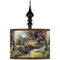 Thomas Kinkade Stillwater Cottage Black Swag Chandelier