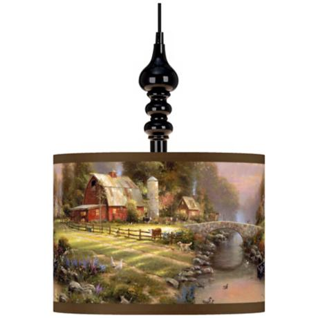 Thomas Kinkade Sunset at Riverbend Farm Black Swag Chandelier
