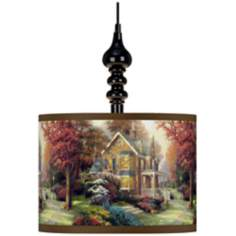 Thomas Kinkade Victorian Autumn Black Swag Chandelier
