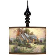Thomas Kinkade A Peaceful Time Black Swag Lamp