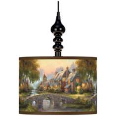 Thomas Kinkade Cobblestone Bridge Black Swag Lamp