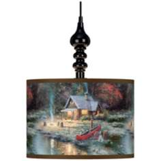 Thomas Kinkade The End Of A Perfect Day II Black Swag Lamp