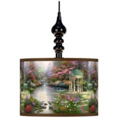 Thomas Kinkade The Garden of Prayer Black Swag Lamp