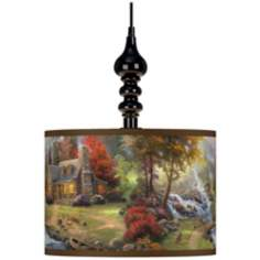 Thomas Kinkade Mountain Paradise Black Swag Lamp