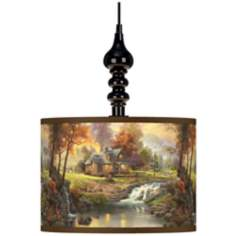 Thomas Kinkade Mountain Retreat Black Swag Lamp
