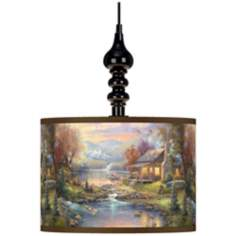 Thomas Kinkade Nature's Paradise Black Swag Lamp