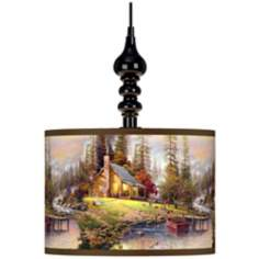 Thomas Kinkade A Peaceful Retreat Black Swag Lamp