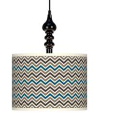 "Zig Zag Giclee 13 1/2"" Wide Black Swag Chandelier"
