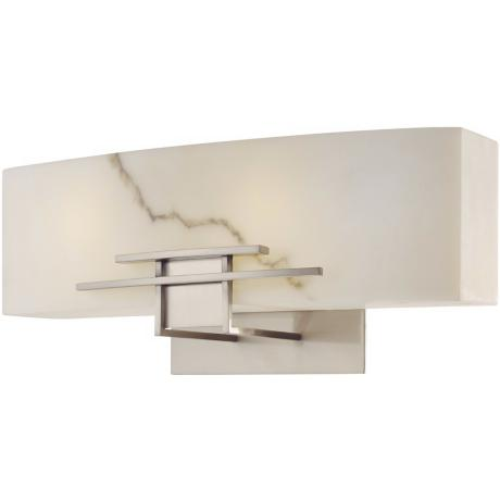 "Alabaster Dust 16"" Wide Bathroom Wall Light"