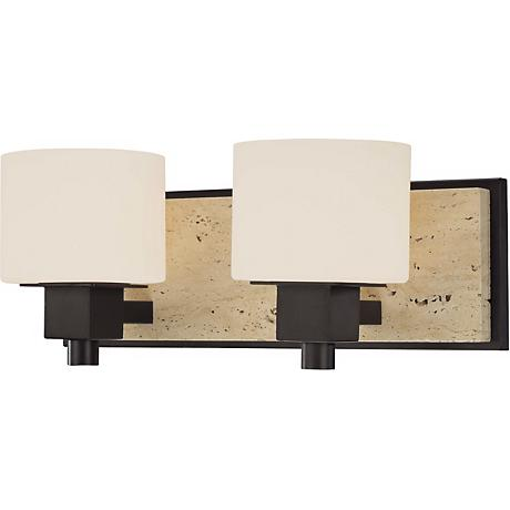 "Travertine Collection 16"" Wide Bathroom Wall Light"