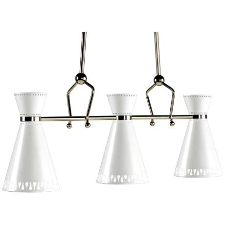 Jonathan Adler Havana Nickel-White 3-Light Chandelier
