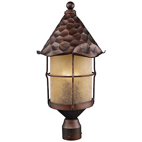 Rustica Antique Copper Scavo Glass Outdoor Post Light