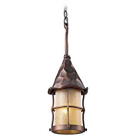 Rustica Antique Copper Scavo Glass Outdoor Hanging Light