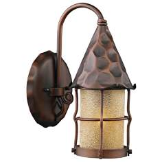 "Rustica Antique Copper Scavo 14"" High Outdoor Wall Sconce"