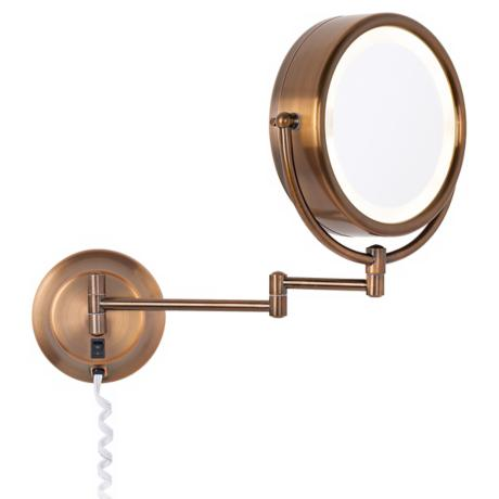 Coppery Bronze Finish Swing Arm Lighted Plug-in Wall Mirror