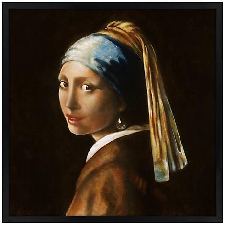 "Girl with Pearl Earring 26"" Square Black Giclee Wall Art"