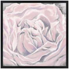 "Pink Bloom 26"" Square Black Giclee Wall Art"