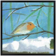 "Snow Sparrow 26"" Square Black Giclee Wall Art"