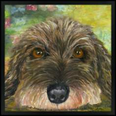 "Puppy Eyes 31"" Square Black Giclee Wall Art"