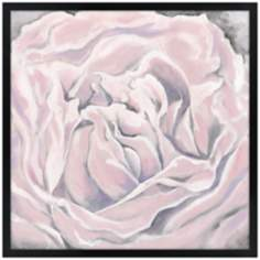 "Pink Bloom 31"" Square Black Giclee Wall Art"