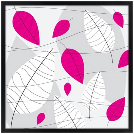 "31"" Square Black, Pink and White Leaves Giclee Wall Art"