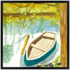 "Lakeside Meditation 31"" Square Black Giclee Wall Art"