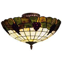 "Grapevine Tiffany Glass 16"" Wide Ceiling Light Fixture"