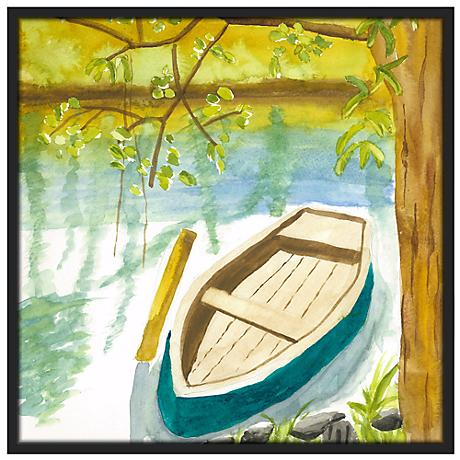 "Lakeside Meditation 37"" Square Black Giclee Wall Art"