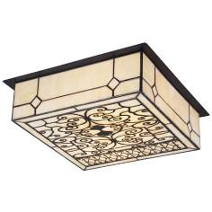 "Adamson Cream Art Glass 14"" Wide Ceiling Light Fixture"