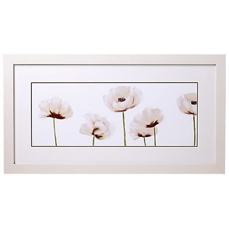 "White Poppies Line-up II Glass Covered 32"" Wide Print"