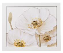 "White Poppies Close Ups Framed Print 28"" Wide Wall Art"