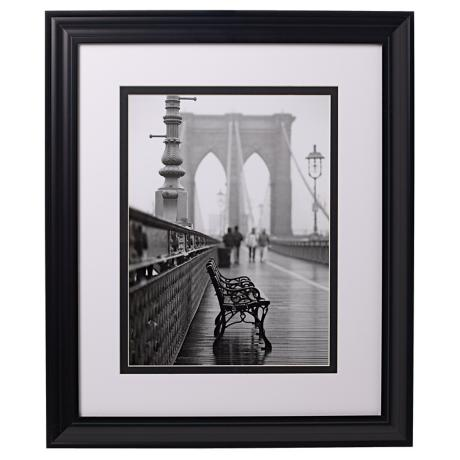 "Brooklyn Bridge Bench 24"" High Glass Covered Print"