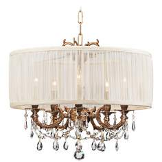 Brentwood Collection Aged Brass 5-Light Crystal Chandelier