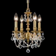 Mirabella Aged Brass 4-Light Crystal Chandelier